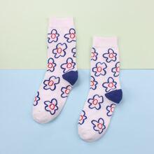 1pair Floral Pattern Socks