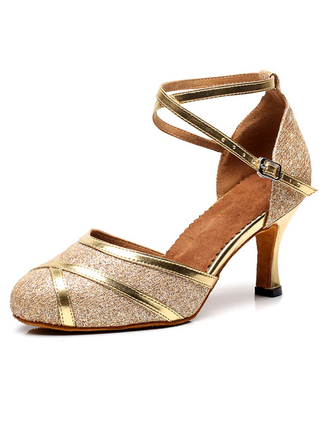 Milanoo Women Dance Shoes Sequins Round Toe Latin Dance Shoes Gold Ballroom Shoes