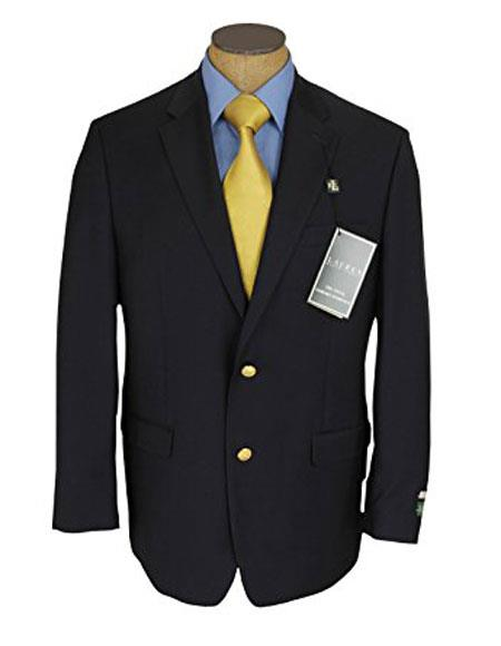 Ralph Lauren Men's 2Buttons Single Breasted Blue Wool Blazer Sportcoat