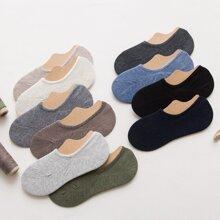 Men Random Color Plain Invisible Socks 5pairs