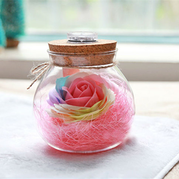 Unique Glass Jar and Flower Soap Night Light