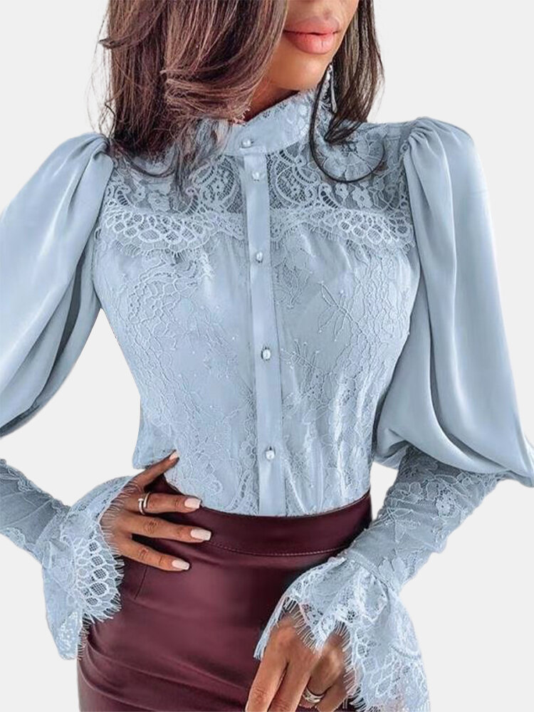 Solid Color Lace Patchwork Button Casual Shirt For Women