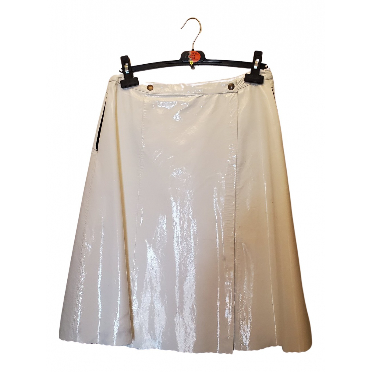 Non Signé / Unsigned N White Leather skirt for Women 12 UK