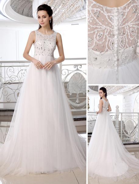 Milanoo Brides A-line Sweep Ivory Wedding Dress Jewel Neck Rhinestone Tulle