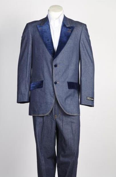 Single Breasted Mens Velvet 2 Button Denim Jean Blue Suit