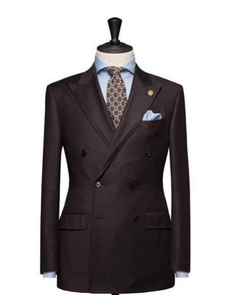 mens high fashion Double Breasted Brown blazer