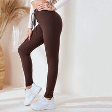 Strick Leggings mit Knoten auf Taille