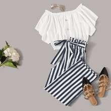 Plus Button Front Crop Top & Paperbag Waist Striped Pants Set