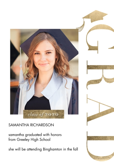Graduation Announcements 5x7 Cards, Premium Cardstock 120lb with Rounded Corners, Card & Stationery -2020 Vertical Grad by Tumbalina