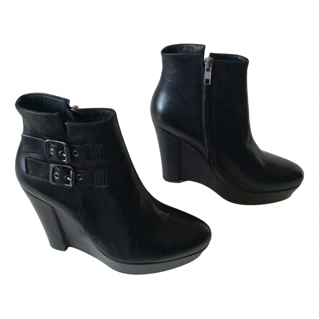 The Kooples N Black Leather Ankle boots for Women 37 EU