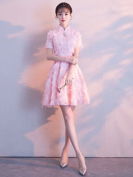 Milanoo Vestidos de baile de color rosa suave de encaje Vestido de graduacion corto Vestido de coctel de cuello de soporte