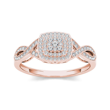1/4 CT. T.W. Diamond 10K Rose Gold Engagement Ring, 7 1/2 , No Color Family