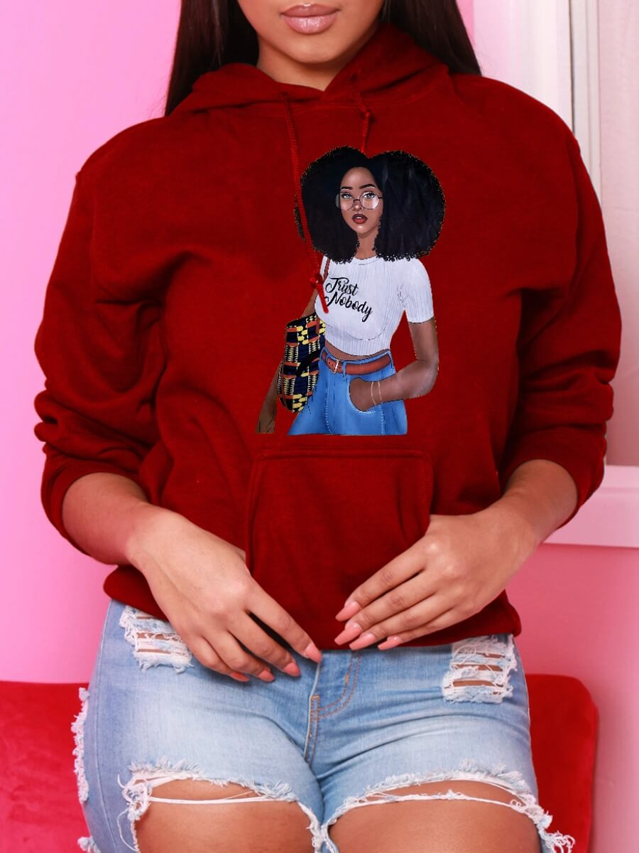 LW Lovely Casual Hooded Collar Print Red Hoodie
