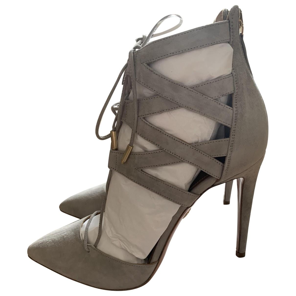 Aquazzura Belgravia Grey Suede Sandals for Women 40 EU