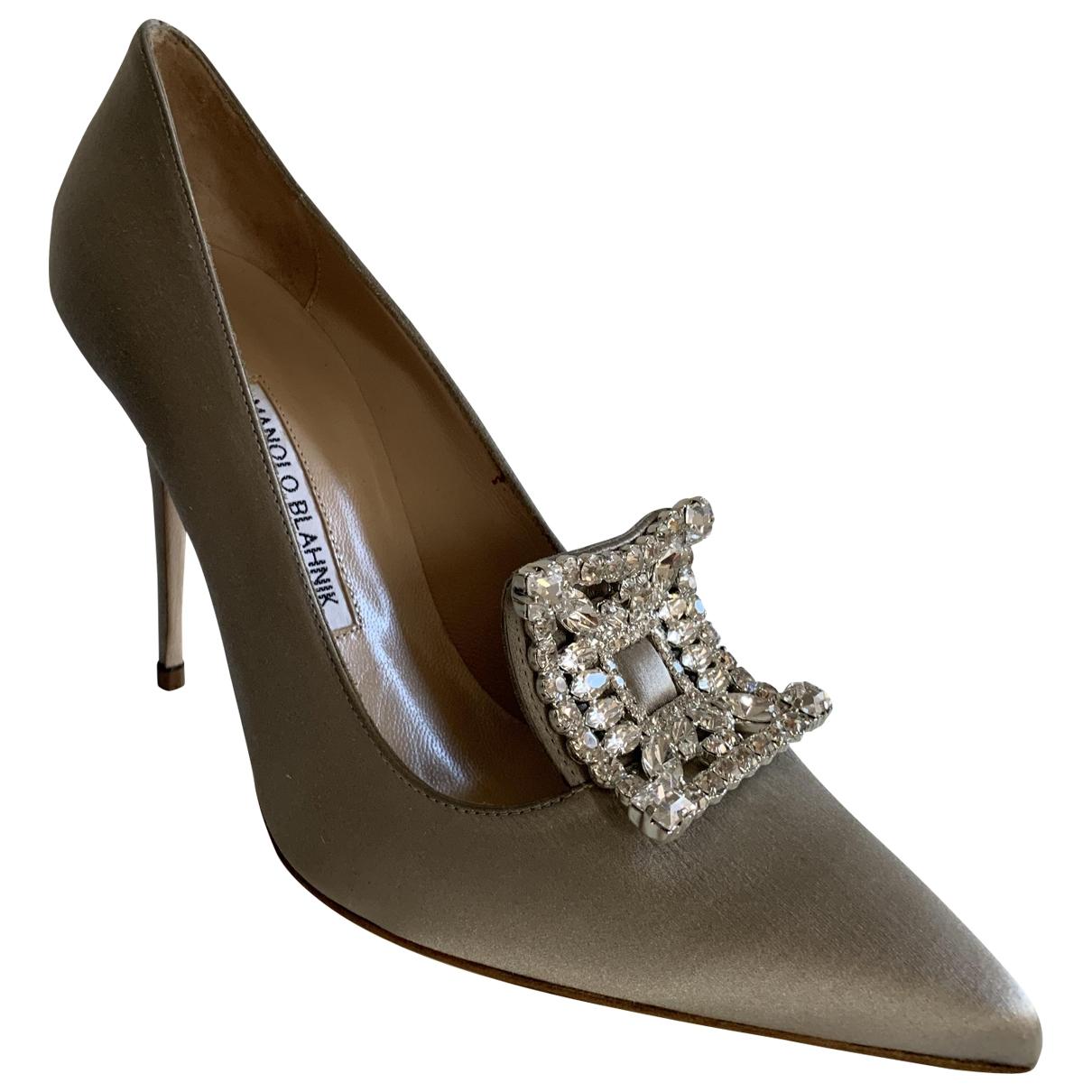 Manolo Blahnik \N Silver Cloth Heels for Women 39 EU