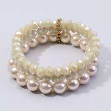 3pcs Faux Pearl Beaded Bracelet