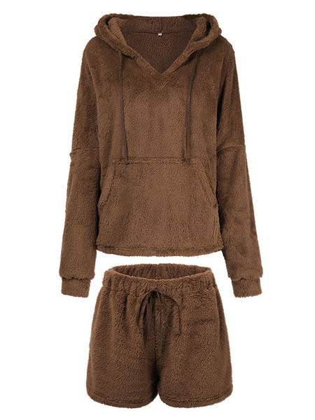 Milanoo Women\'s Loungewear 2-Piece Coffee Brown Long Sleeve Polyester Short Plush Home Wear