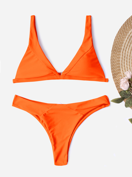 Yoins Orange Spaghetti Bikini Set