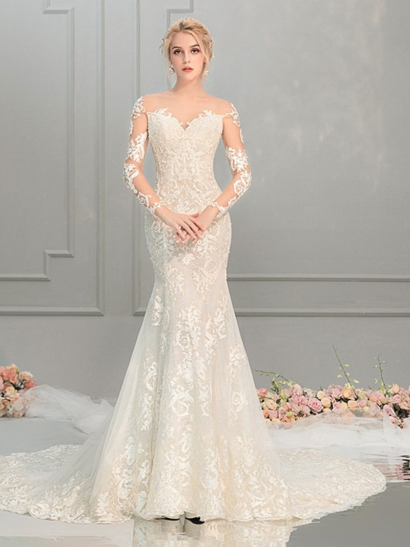 Ericdress Court Scoop Long Sleeves Mermid Wedding Dress 2020