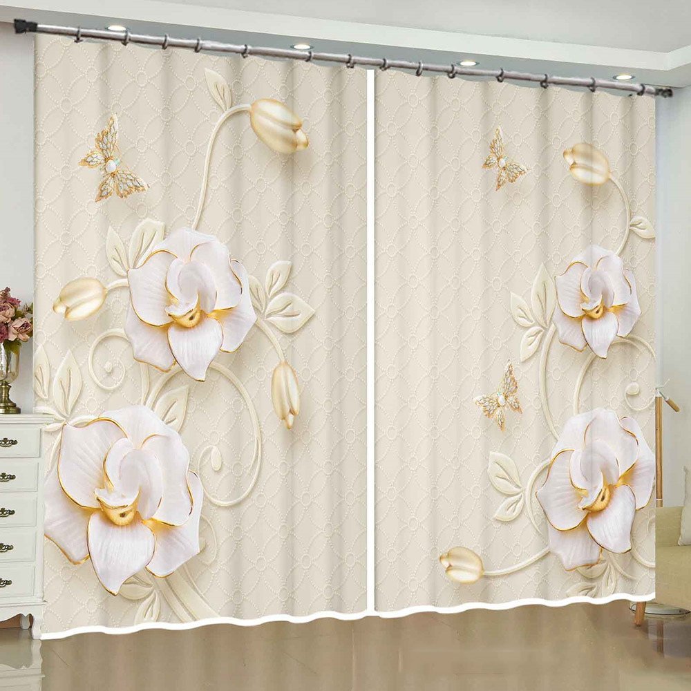 3D Decorative Blackout Window Curtains with Elegant Relief Flowers Pattern Custom 2 Panels Drapes for Living Room No Pilling No Fading No off-lining
