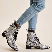 Lace Up Front Snakeskin Ankle Boots