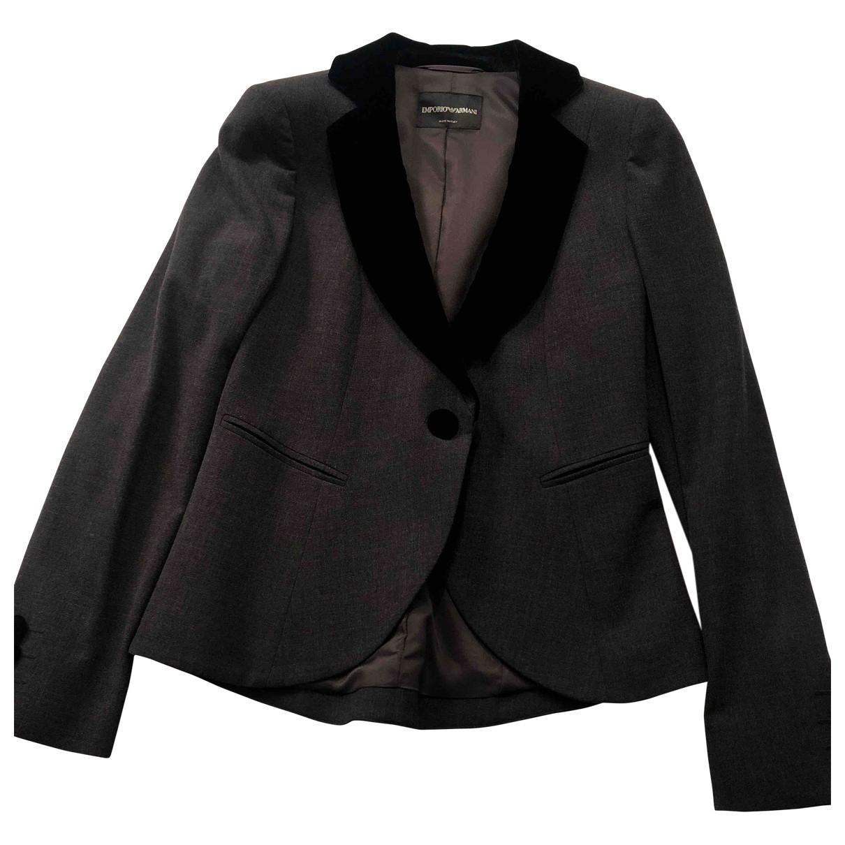 Emporio Armani \N Jacke in  Grau Wolle