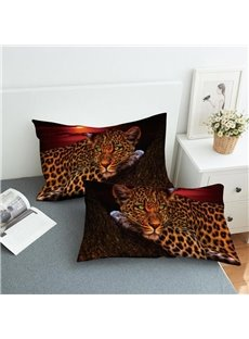 A Leopard on A Tree Watching The Sunset Reactive Printing 2-Piece Polyester Pillowcase