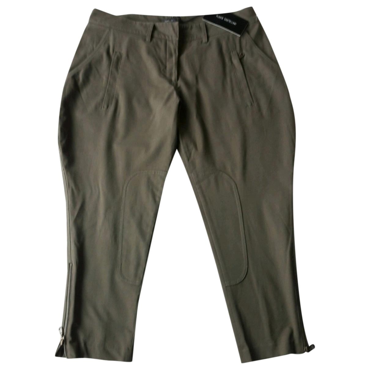 Flavio Castellani \N Khaki Cotton Trousers for Women 42 FR