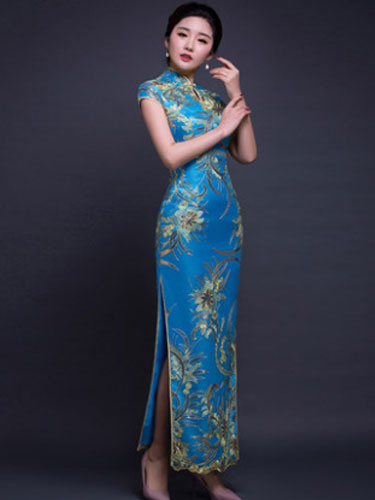 Milanoo Halloween Chinese Costume Women's Lace Short Sleeve Keyhole Floral Print Slit Long Cheongsam Dress