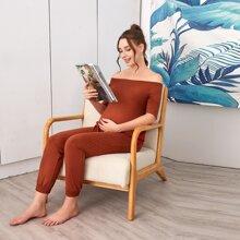 Maternity Off Shoulder Top & Pocket Patched Carrot Pants Set