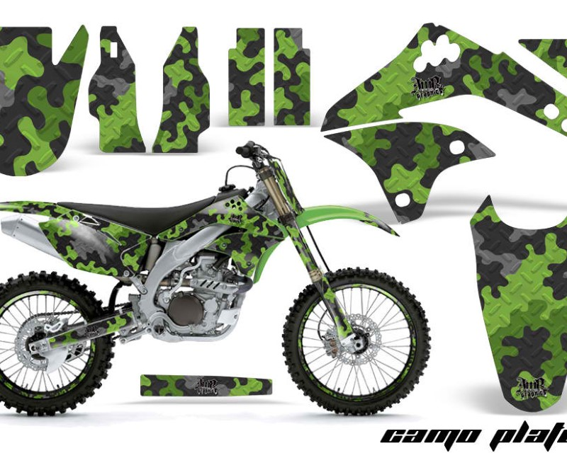AMR Racing Graphics MX-NP-KAW-KX450-06-08-CP G Kit Decal Sticker Wrap + # Plates For Kawasaki KXF450 2006-2008 CAMOPLATE GREEN