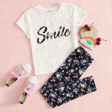 Girls Letter and Floral Print Tee and Leggings Set