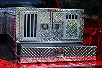 Owens Products 55023W Dog Box Pro Hunter Series Double Compartment with Bottom Drawer / 38 W x 40 D x 26 H / All Seasons Vents / Diamond Tread Aluminu