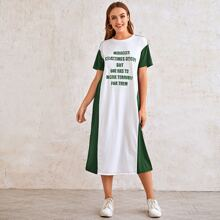 Slogan Graphic Two Tone Dress