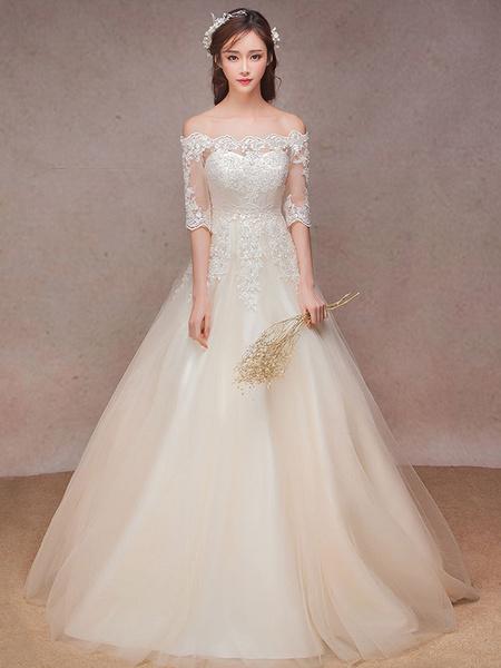 Milanoo Vestido de novia barato de linea A con escote barco hasta el suelo hombro caido con 1/2 manga De banda de encaje