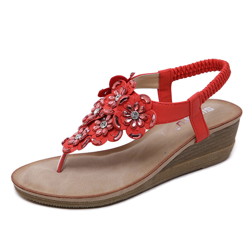 Large Size Bohemia Flower Clip Toe Casual Wedges Sandals