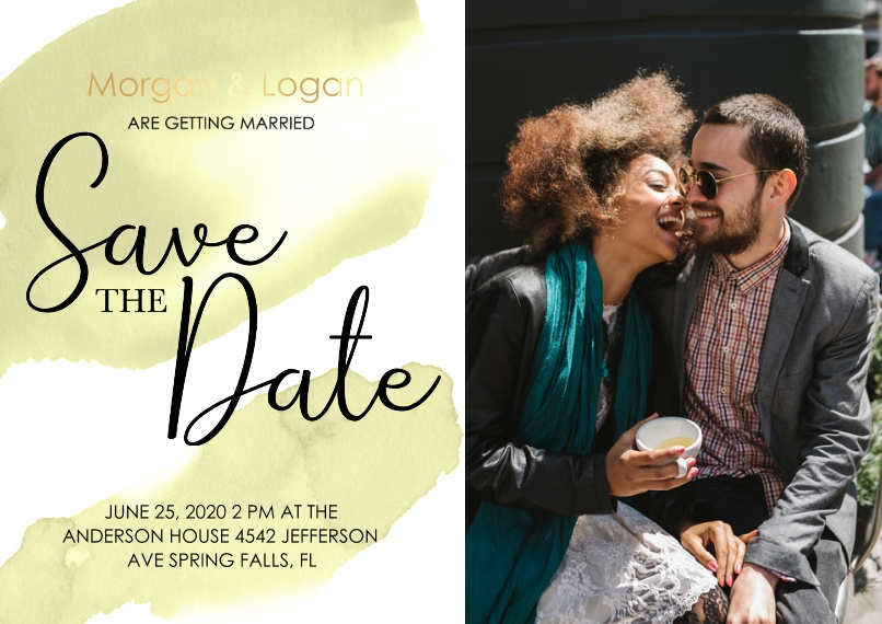 Wedding Set of 20, Premium 5x7 Foil Card, Card & Stationery -Save The Date Watercolor