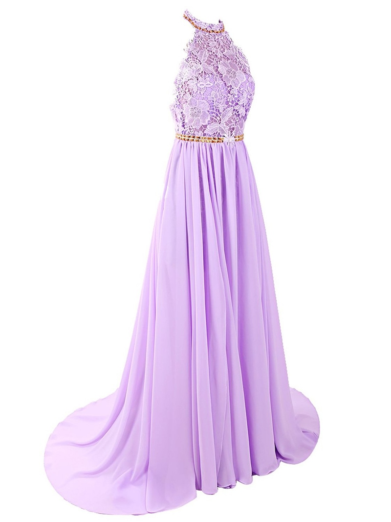 Ericdress A-Line Halter Beading Lace Court Train Prom Dress
