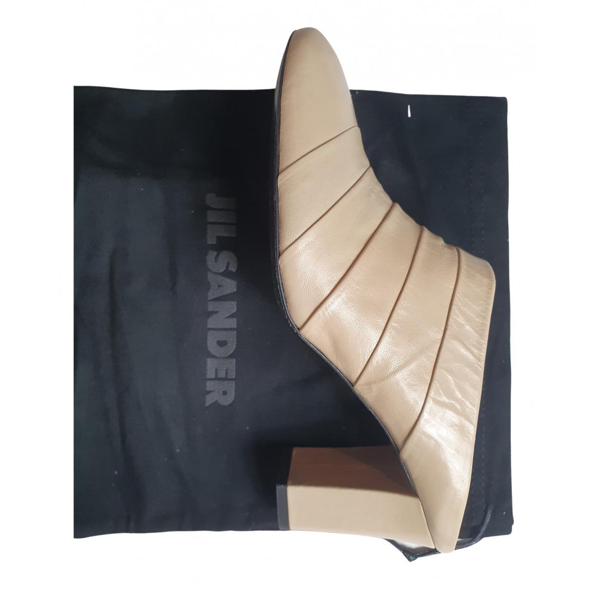 Jil Sander - Sandales   pour femme en cuir - beige