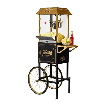 Nostalgia CCP1000BLK 59-In. Vintage 10-Oz. Commerical Popcorn Cart, One Size , Black