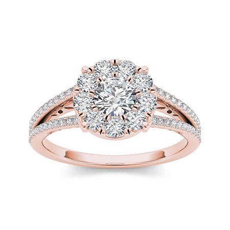 1 CT. T.W. Diamond Cluster 10K Rose Gold Engagement Ring, 8 1/2 , No Color Family