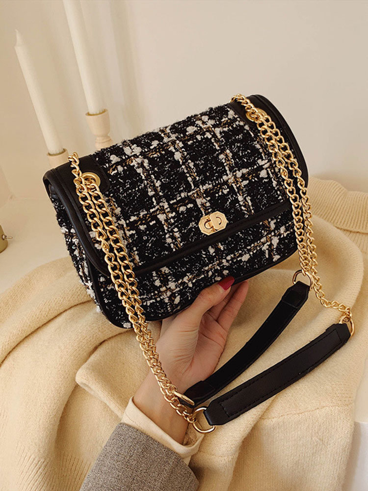 Women Mix Color Woven Woolen Vintage Chain Bag Clutch Bag Crossbody Bag