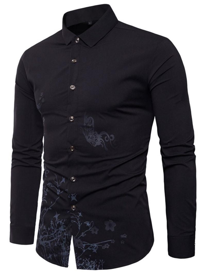 Ericdress Color Block Lapel Casual Slim Mens Shirt