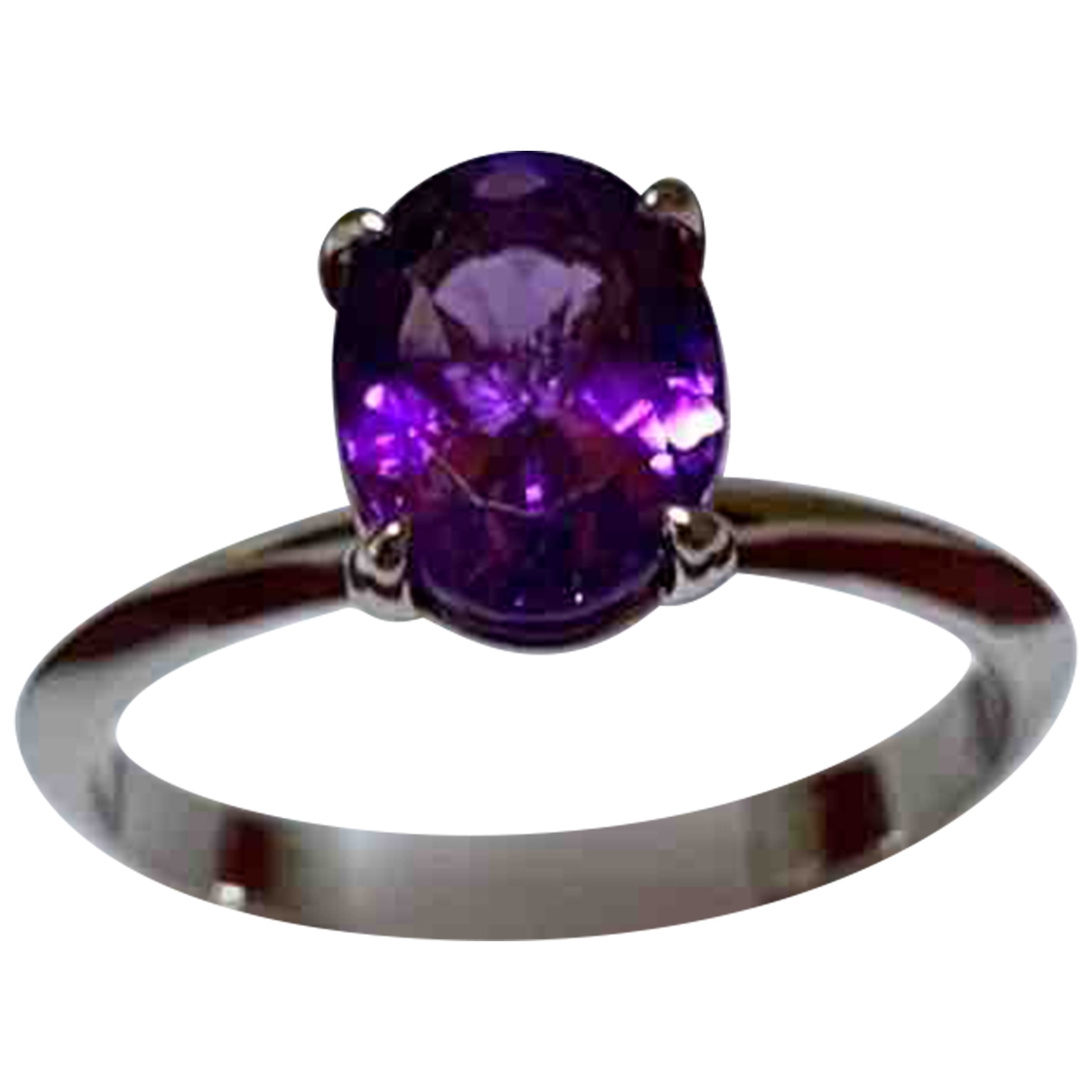 Non Signé / Unsigned Améthyste Purple White gold ring for Women 53 EU