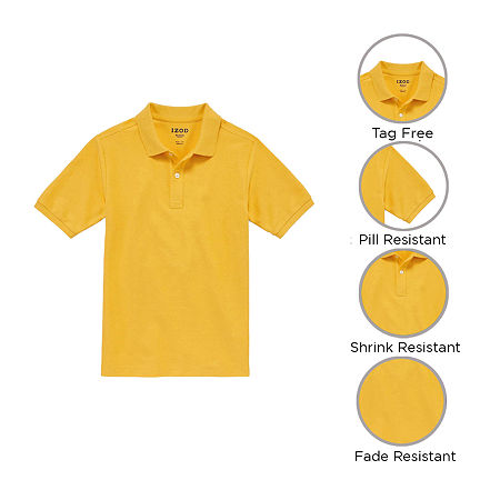 IZOD Pique Little & Big Boys Short Sleeve Stretch Polo Shirt, Medium , Yellow