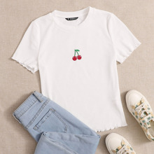 Cherry Embroidered Lettuce Edge Tee