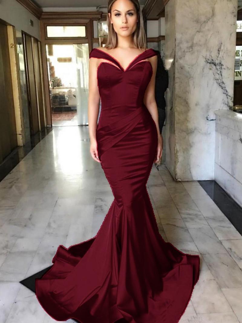 Ericdress Off-the-Shoulder Pleats Mermaid Evening Dress