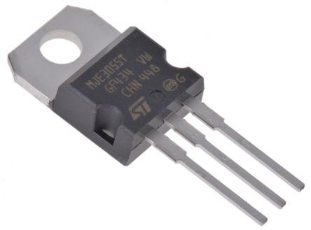 STMicroelectronics MJE3055T NPN Transistor, 10 A, 60 V, 3-Pin TO-220 (50)