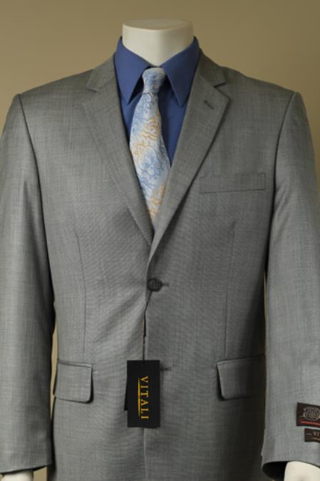 Mens 2 Button Textured Mini Weave Patterned Shiny Sharkskin Suit Gray