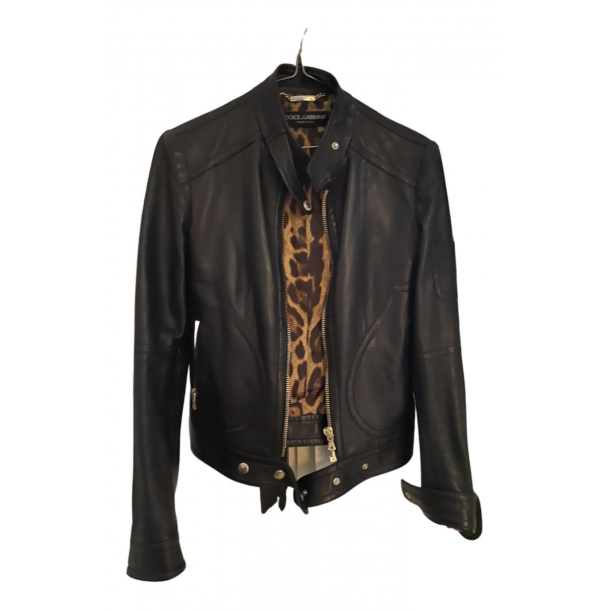 Dolce & Gabbana - Blouson   pour femme en cuir - noir